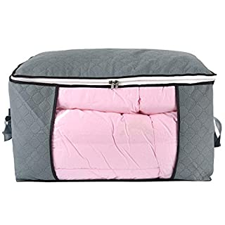 ComboCube Jumbo Zippered Storage Bag for Closet King Comforter, pillow, quilt, bedding, Clothes, Blanket Organizers with Large Clear Window & Carry Handles Space Saver