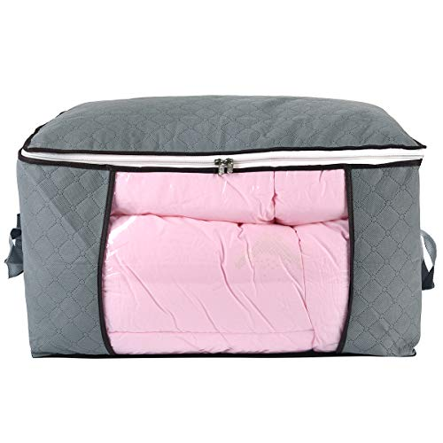 Jumbo Zippered Storage Bag for Closet King Comforter, Pillow, Quilt, Bedding, Clothes, Blanket Organizers with Large Clear Window & Carry Handles Space Saver