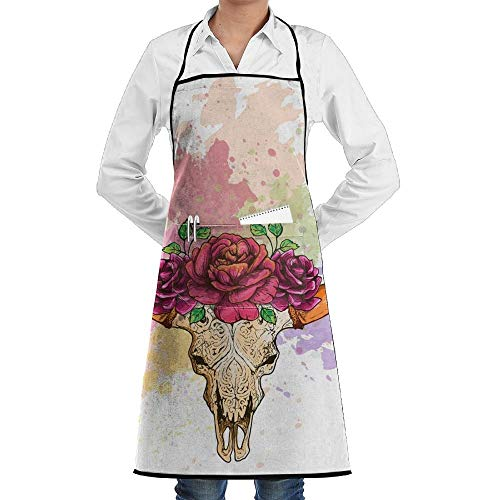 Yohafke Grill Aprons Kitchen Chef Bib Cow Halloween Skeleton Skull with Flowers Kitchen Cooking Aprons with 2 Pockets for Women and Men-Adjustable Neck Strap Apron