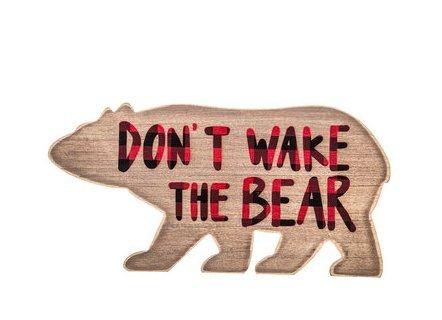 Don't Wake The Bear Buffalo Plaid Wood Wall Sign - Woodland