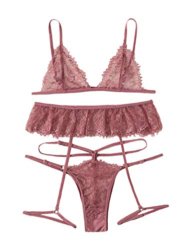 SheIn Women's Floral Lace Garter Lingerie Set Eyelash Lace Bra and Thongs Babydoll Pink Small