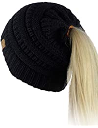 a624b28d3ec BeanieTail Soft Stretch Cable Knit Messy High Bun Ponytail Beanie Hat