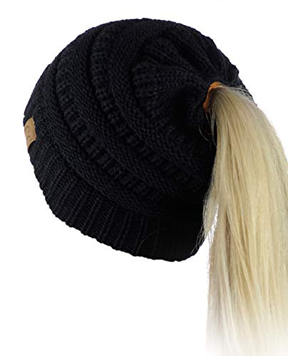 435026f3eb2 C.C BeanieTail Soft Stretch Cable Knit Messy High Bun Ponytail Beanie Hat -  Buy Online in UAE.