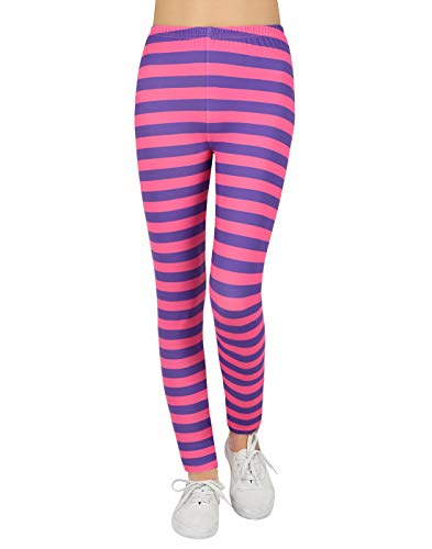 Leggings for Girls Cheshire Cat Halloween Leggings Purple Pink Stripes