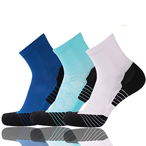 Tennis Compression Socks, NIcool Mens Reinforce Support Athletic Ankle Basketball Football Socks, Blue & Sky Blue & White, 3 Pairs
