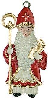 St. Nicholas German Pewter Christmas - Painted Pewter Ornament