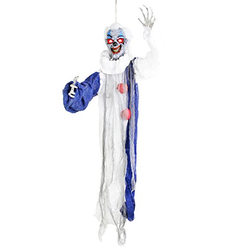 Halloween Haunters 3' Hanging Raunchy Scary Clown Reaper Prop Decoration - Spooky Animated Circus Music, Red Evil Eyes - Battery