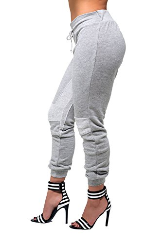 Poetic Justice Women's Curvy Fit Grey Knit French Terry Reversed Fabric Jogger Pant Size X-Large