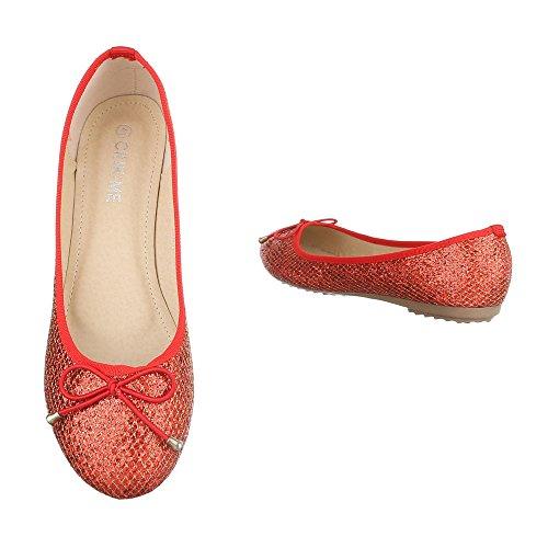 Ital-Design Klassische Ballerinas Damenschuhe Blockabsatz Moderne Coral Rot DM6D-18