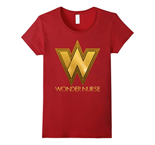 Nurse Costume Amazon (Womens Nurse Halloween costume shirt, Wonder Nurse Superhero Medium Cranberry)