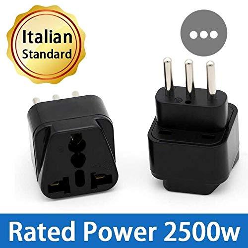 Jammas Universal Italy Italian Travel AC Power Adapter Electric Plugs Sockets Converter Compact 3 Pin Lightweight Wireless Adaptor - (Standard: Italy Adapter, Color: Black)