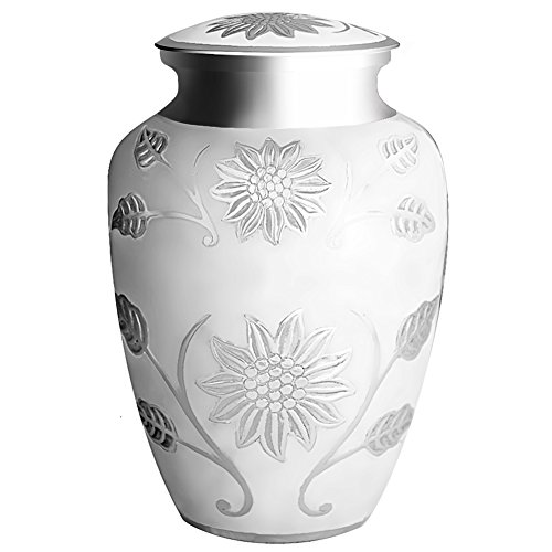 Funeral Urn by Meilinxu - Cremation Urns for Human Ashes Adult and Memorial - Hand Made in Brass and Hand Engraved - Display Burial Urns At Home or in Niche - Rosedale Shops