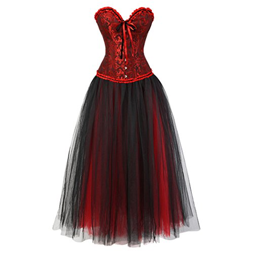 Women's Gothic Vintage Corset Skirt Set Moulin Rouge Dancer Fancy Clubwear Negro rojo-Negro