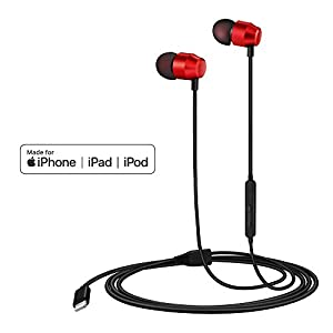PALOVUE Earflow in-Ear Lightning Headphones Magnetic Earphones MFi Certified Earbuds with Microphone Controller Compatible iPhone X/XS/XS Max/XR iPhone 8/P iPhone 7/P (Metallic Red)
