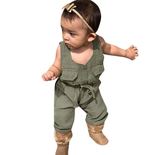 3-24 Months Toddler Newborn Clothes Set Baby Boys Girls Sleeveless Pocket Romper Jumpsuit Playsuit Outfits (3-6 Months, Brown) ()