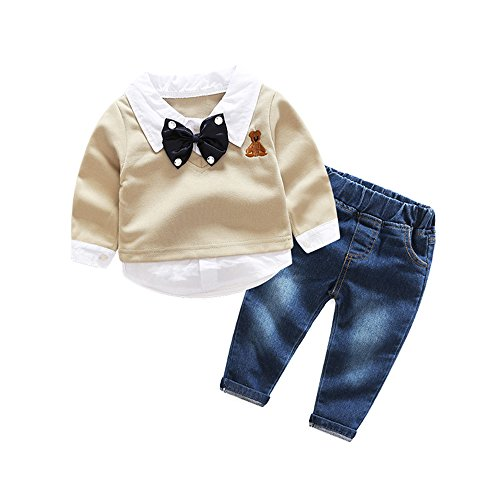 Top and Top Toddler Baby Boys Bow Tie Shirt Tops+Denim Pants Gentleman Clothes Outfits (100/2-3 years) (Washed Down Chino Pants)