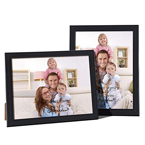 Hanging Garden Pictures - Giftgarden 8x10 Picture Frames Desktop Display and Wall Mounted Glass Front Black Photo Frame Pack of 2