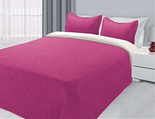 Hot Pink Bedding - Wayne Reversible 3-Piece Quilted Bedspread Coverlet Bedding Set Multi-Color (Hot Pink & White, Twin)