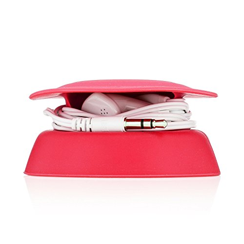 Budley - Tangle-Free Earphone/Earbud Case, Compact Storage System, Silicone (Red, Set of 1)