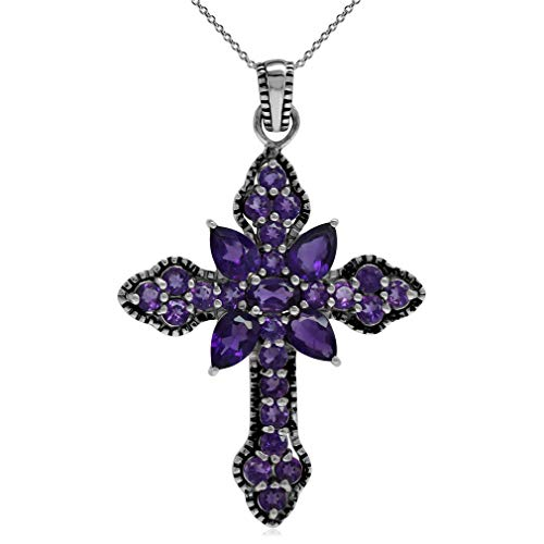 - 3.25ct. Natural African Amethyst 925 Sterling Silver Vintage Style Cross Pendant w/ 18