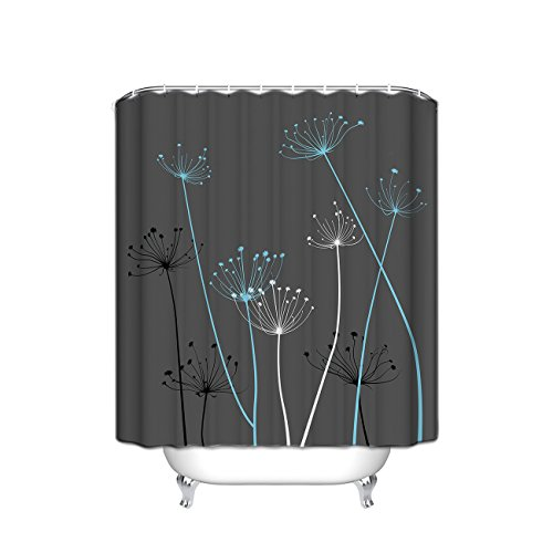 Crystal Thistle - Thistle Fabric Shower Curtain, Gray/Blue