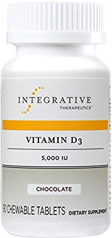 Integrative Therapeutics - Vitamin D3 5,000 IU - Immune System and Bone Support - Chocolate Flavor - 90 Chewable - 90 Chewable Tabs