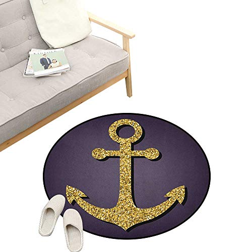 Tranquility Pattern - Anchor Round Rug ,Anchor Pattern with Tranquility Peacefulness Artistic Display Nautical Marine Print, Art Deco Non-Slip Backing Machine Washable 39
