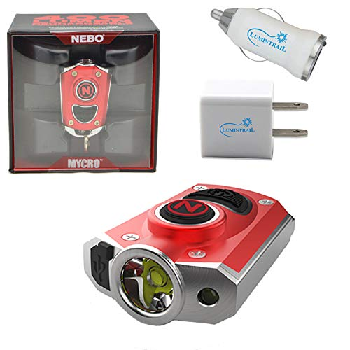 NEBO Mycro 400 Lumen USB Rechargeable Keychain Pocket Flashlight Bundle with Lumintrail USB Car and Wall Adapters (Red)