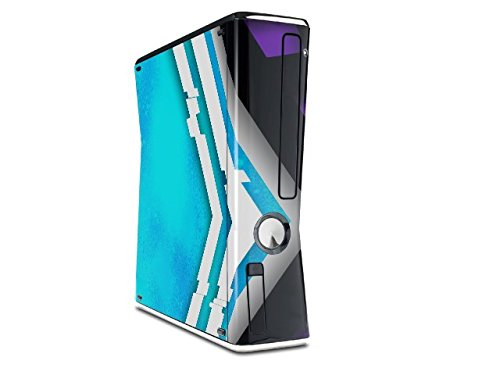 Black Waves Neon Teal Purple Decal Style Skin for XBOX 360 Slim Vertical ()