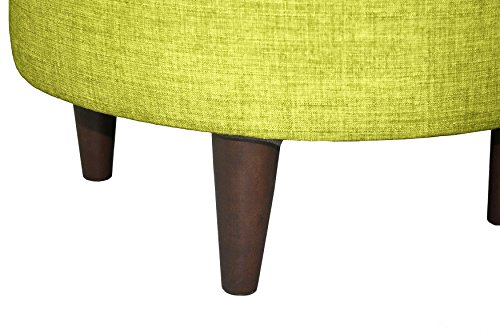 MJL Furniture Designs Sophia Collection Bennett Series Contemporary Round Ottoman, Lime Green/Wooden Legs