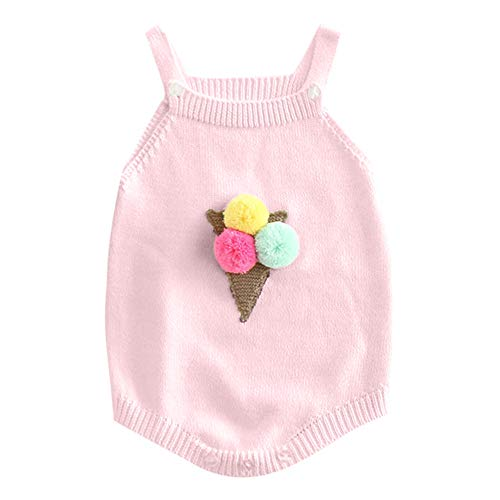NUWFOR Newborn Baby Girl Knitted Overalls Embroidered Cotton Romper Bodysuit Clothes ?Pink,18-24 Months