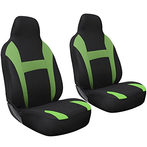 OxGord 2pc Integrated Flat Cloth Bucket Seat Covers - Universal Fit for Car, Truck, Van, SUV - Green/Black ()