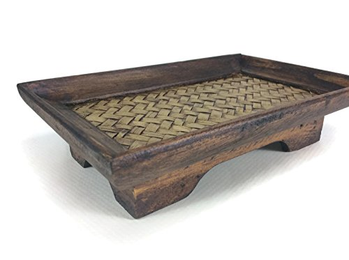 (Tray Bamboo Oriental Wood Serving Handmade Vintage Restaurant Wooden Handcraft 5 x 8 Inches)