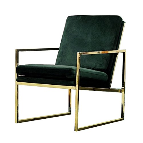Dark Green Armchair Velvet Lounge Chair, Brass Plated Gold Finish Steel/Metal Frame, 1 Seat Luxury Sofa for Living Room Bedroom Cafe Scandinavian Design