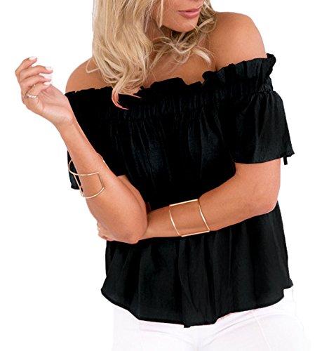 paule Tops Lache Manches Pliss T Sweatshirt Unie Casual Courtes Noir Shirts Blouses Fashions Femme Haut Decontractee t Couleur Legendaryman Chemisiers ZAqzFIW