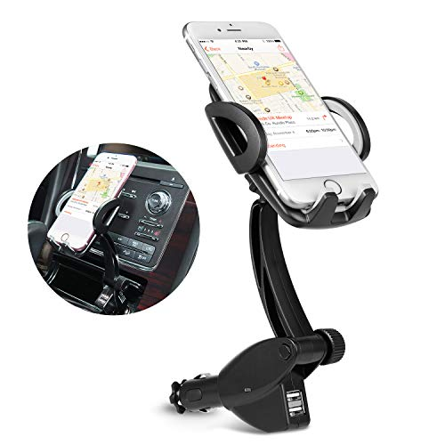 Car Phone Mount, 3-in-1 Cigarette Lighter Car Mount 360°Rotatable Universal Cell Phone Holder with Dual USB Ports Car Charger Compatible Phone X 8 8 Plus 7 7 Plus 6 Galaxy S9 S9+ Note 9 8 S8 S8+ More