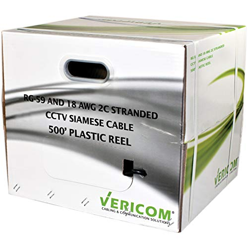 Bulk RG-59 Coax With 18/2 Siamese Cable, 500 FT by Vericom(r)