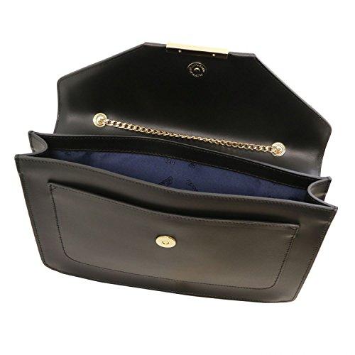 Nero Bordeaux Leather con pelle a Iride in Tuscany catena tracolla Pochette 4UqxHP47w