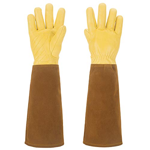Men And Women Garden Gloves For Rose Pruning Thorn proof Gardening Gloves Long Cow Leather Gloves with Eblow Gauntlet (Small)