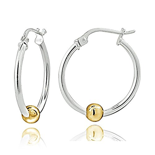 Hoops & Loops Sterling Silver with Yellow Gold Flash Bead 18mm Round Hoop - Bead Captured