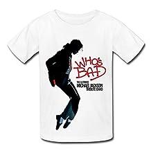 QM Ultimate Michael Jackson Tribute Band Who's Bad T Shirt For Big Boys'Girls' White
