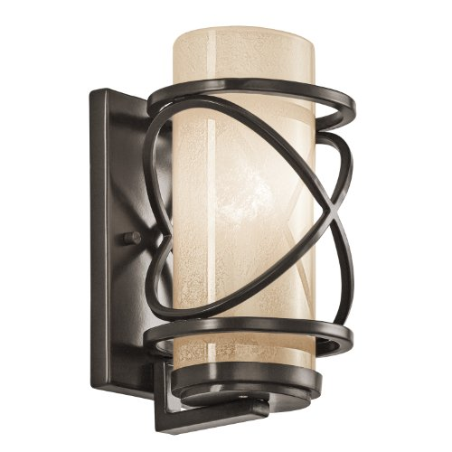 Tea Stained Glass - Kichler 49356AZ Trafari 1-Light 9-Inch Outdoor Wall Mount, Architectural Bronze Finish with Tea Stained Glass