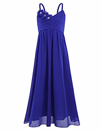 FEESHOW Big Girls Spaghetti straps Flower Junior Bridesmaid Dress Party Wedding Gown Blue 4