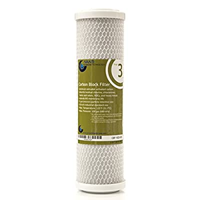 "Avanti Membrane Technology Stage 3 Carbon Block Filter for under-sink RO filtraiton drinking water system, 5 micron, 10 inch, 2.5"" OD X 1.1"" ID X 9-7/8"" L (CBF-1025-05)"