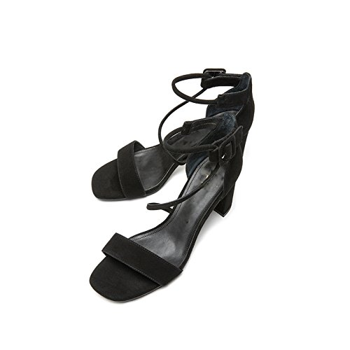 donna moda DHG Tacchi 36 con Pantofole basso Sandali tacco alti basso alla tacco Sandali Nero Sandali estivi piatti a da casual rYYwICq