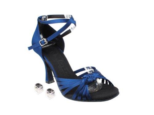 Bellissime Scarpe Da Ballo Da Donna Da Donna Eksera3780 Con 3 Tacco In Raso Blu Navy