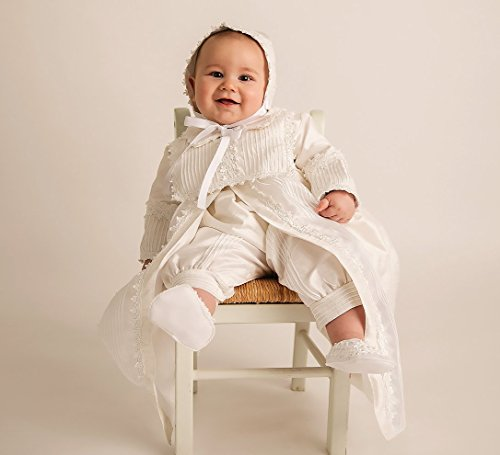 Christening Gown Burbvus B002 | Baby Boy Baptism Outfit | Handmade | 100% Silk White or Ivory by Burbvus