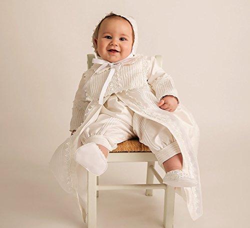 Christening Gown Burbvus B002 | Baby Boy Baptism Outfit | Handmade | 100% Silk White or - White Gown Silk Christening