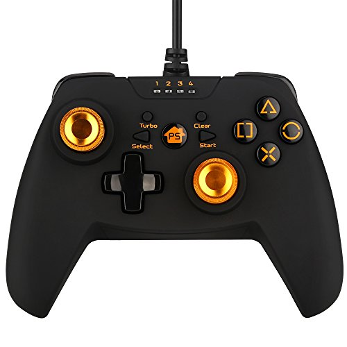 PC Game Controller, BEBONCOOL PS3 Controller, Wired Game Controller Gamepad Joystick With Vibration Feedback For Windows PC/PlayStation 3 /Steam/Android TV Box (Golden)