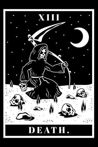 Journal: Tarot Death Card Scary Occult Fortune Teller Black Lined Notebook Writing Diary - 120 Pages 6 x 9